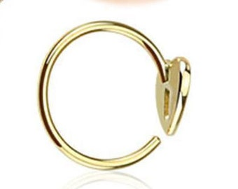 9k gold Heart  Nose Ring 20g-21g .Heart Hoop Earring Cartilage .Tragus. Hoop Extra Small Nose Ring