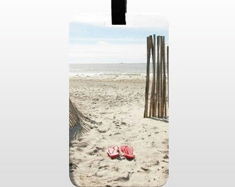 Luggage Tag, Photo Gifts, Water Resistant, ID Bag Tag, Beachy Luggage Tag, Flip Flops, Baggage Labels, Beach Luggage Tag, Travel Luggage Tag