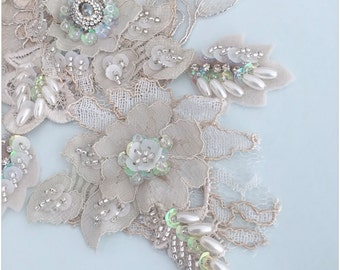 Tea Stained beaded lace applique