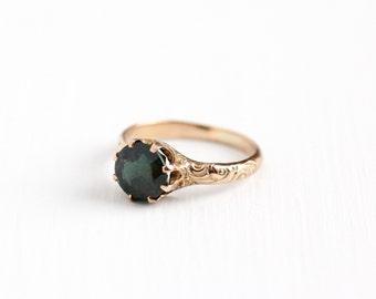 Antique Edwardian 10k Rose Gold Green Garnet Doublet Ring - Vintage Size 4 Victorian Early 1900s Rose Cut Gemstone Fine Jewelry