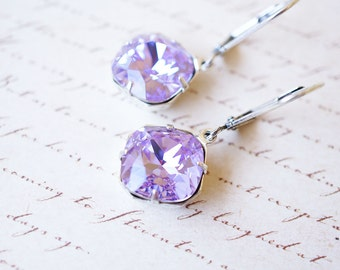 Earrings, Violet Earrings, Silver Earrings, Crystal Earrings, Dangle Earrings, Drop Earrings, Handmade Earrings, Bridesmaid Earrings