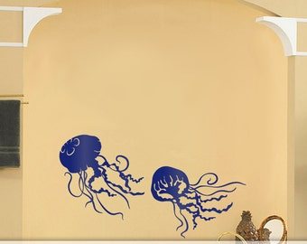 2 Small Jellyfish Decals - Bathroom Wall Decor, Under the Sea Room Decor, Sea Life Wall Decor, Marine Life Decal