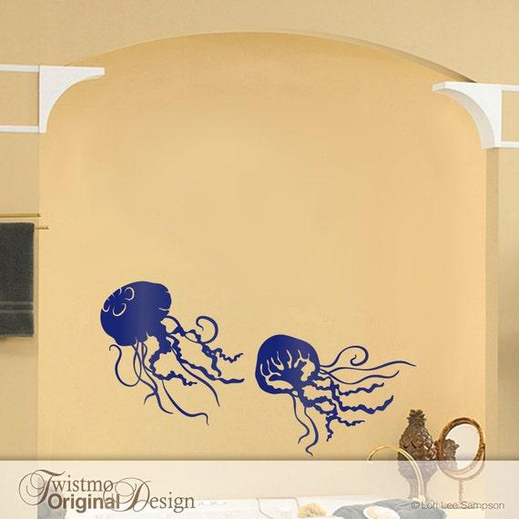 2 Small Jellyfish Decals Bathroom Wall Decor Under the Sea