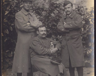 French Soldiers Pose with Doll 2, circa 1910s. Rare RPPC
