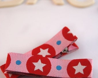 Non-Slip Hair Clips Pair - Fully Lined Red Star Baby Clips - 2x baby or girls hair clips - Barrette Set - Pink Star Hair clips