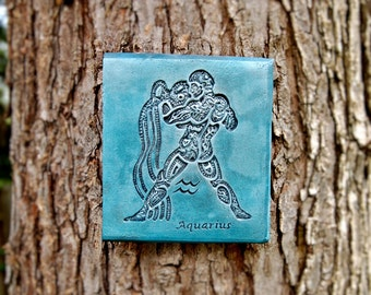 Aquarius Art, Zodiac Wall Plaque, Aquarius Stone Sculpture, January February Birthday Gift, Astrological Sign, Age of Aquarius
