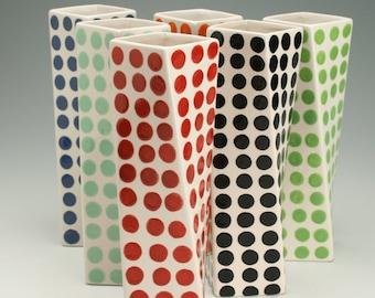 Red Polka Dots, Tall Ceramic Flower Vase, Tall Modern Pottery Vase, Polka Dot Twisted Vase, Hand Painted Red and White Flower Vase