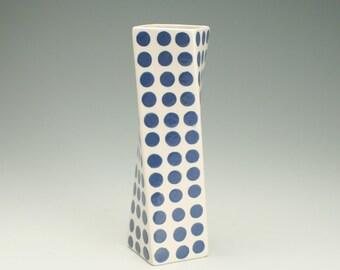 Tall Ceramic Flower Vase, Tall Modern Pottery Vase, Polka Dot Twisted Vase, Nantucket Blue Polka Dots, Hand Painted White Flower Vase