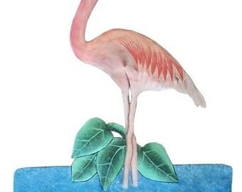 "Flamingo Metal Wall Hook - Tropical Design, Painted Metal Bathroom Decor - Metal Hook, Tropical Metal Art, Towel Hook -12"" x 19"" - 7061-H"