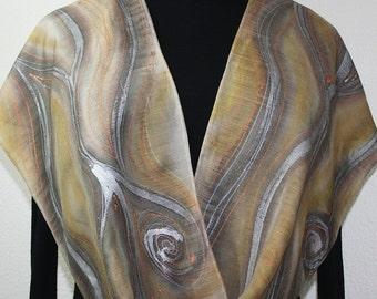 Beige Silk-Wool Scarf WINTER SANDS. Warm Silk-Wool Scarf Hand Painted by Silk Scarves Colorado. Large 14x68. Birthday, Bridesmaid Gift.