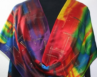 Silk Scarf Hand Painted. Red, Purple, Blue Silk Satin Shawl RAINBOW CHIC, Large14x72. Handmade Mother Gift, Bridesmaid Gift.