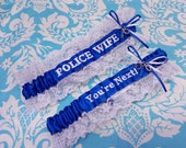 Royal  and white Police Wife garter set, You're next garter set, fine line garter set, handcuffs garter set, Police garter set, white lace