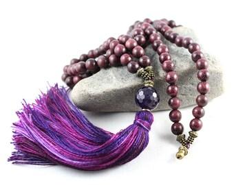 Purple Heart Mala, Amethyst Mala, Peltogyne Mala, Tassel Mala, Tassel Necklace, Japa Mala, Prayer Beads, Gem Mala, Yoga Style, Prayer Bead