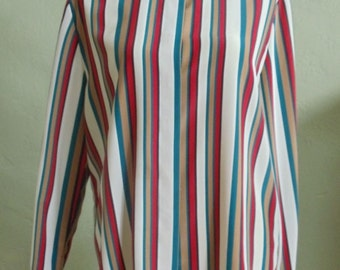 "Vintage 80""s Joan Leslie Long Sleeved Vertical Striped Blouse Bust 44""  Waist 44"""