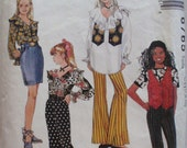 Girl's Boho Sewing Pattern -Lined Vest, Ruffled Blouse, Flared Pants and Straight Skirt -McCall's 6765 - Sizes 7-8-10, Breast 26 - 28 1/2