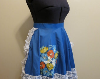 Circle Skirt blue with lace and hand painted flowers Square Dancing XL