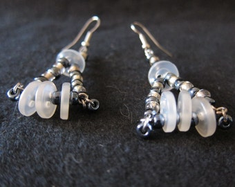 Silver and White Button and Bead Earrings