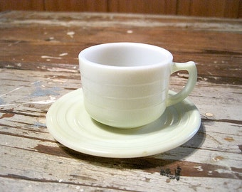 "Hazel Atlas Pastel Green Moderntone ""Little Hostess Party Dishes"" Cup and Saucer"