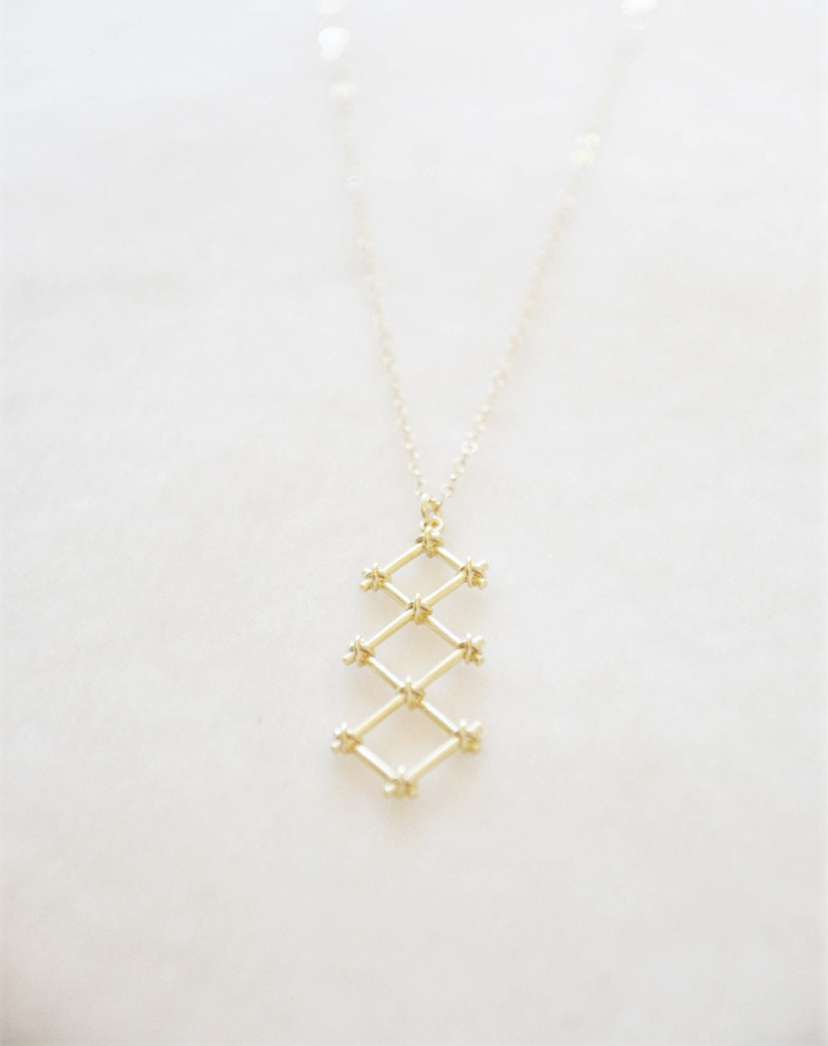 Gold Trellis Necklace/ Modern Necklace/ Geometric Necklace/ Minimal Necklace/ Layering Necklace/ Simple Necklace/ Dainty Gold Necklace