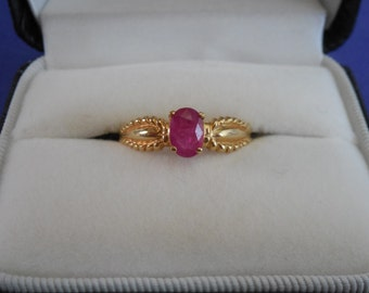 Yellow Gold Oval Natural Ruby Ring 10k