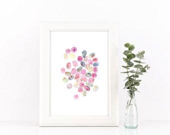 October Birthstone - Birthstone Art - Opal - Tourmaline - Gem Art - Gemstone Art - Opal Print - Gem Wall Art - Pink Tourmaline Watercolour