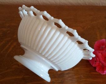 Westmoreland Open Lace Milk Glass Footed Bowl - Wedding Decor - Oak Hill Vintage