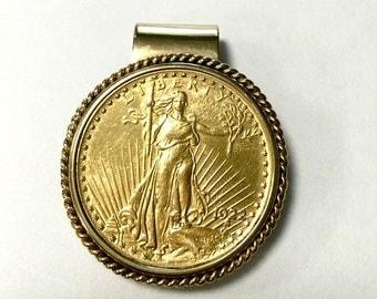 St. GAUDENS TWENTY Dollar Gold COIN 1922 14k Gold Money Clip