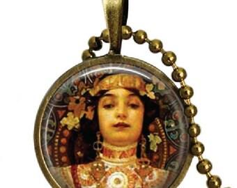 Famous Artist Alphonse Mucha Art  Glass Tile Pendant Necklace Moet and Chandon Art Mucha Jewelry