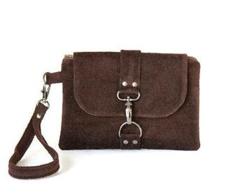 Wristlet Clutch in Brown Corduroy, Soft Velvet Woman's Wristlet, Small Handbag, Wristlet Wallet, Casual and Comfortable Hand Bag
