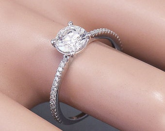 14k white gold round cut forever one moissanite and diamond engagement ring prong set 1.32ctw