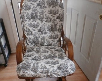 Nursery Glider Rocker SlipCover - French Chic Black Toile  - Covers for your cushions -Room Make over -Up Cycle-