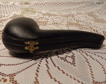 Vintage Leather Pipe Case - Leather and Velvet Pipe Holder  -  16-481