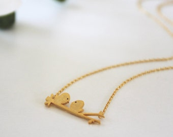 Love birds Necklace in Matt Silver/ Gold. Love. Valentine's Gift. Anniversary. Sweet. Everyday Wear. Gift For Her (PNL-52)