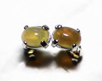 Opal Stud Earrings, Ethiopian Chocolate Opal Earrings (0.98 tcw) Welo Opal Earring Studs, Opal in Sterling Silver, Untreated Brown Opal Gem