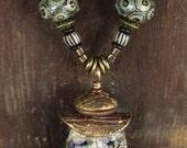 Artisan Pendant #10...Wayne Robbins glass...bronze..adjustable