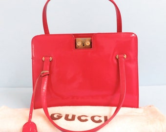 Vintage 1970's/Gucci Red Patent Leather Purse/Mod Red Purse Handbag/Gucci Red Handbag