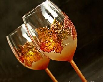 Wine Glasses,Toasting Glasses, Hand Painted Wine Glasses, Autumn Leaves, Autumn Wedding, Wedding Glasses set of 2