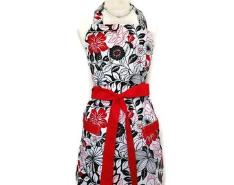 Classic Black White Red apron with pockets for Women, gift for mom, Bridal Shower Gift, retro womens apron for mom, Mother's Day,