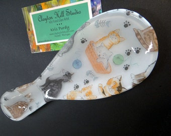 Fused Glass Spoon Rest - Cats I