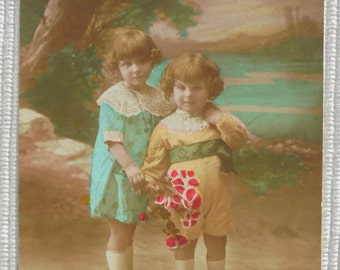 Vintage French Postcard - Cute Children with Flowers