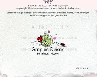 1175-19 ladybug yarn logo, lady bird logo, knitting crochet logo, ball of yarn logo, Custom logo, Premade Logo Design, knitting, crochet