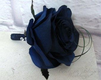 Blue rose Boutonniere - Navy blue Wedding boutonniere, Silk Prom Boutonniere