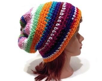 Rainbow Scrap Hat, Scrap Yarn Hat, Rainbow Striped Hat, Boho Slouchy Hat, Hipster Beanie, Upcycled Beanie, Random Color Hat, Festival Hat