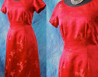 60's Wiggle Dress Lady in Red Satin Brocade Asian Print Silk Lined size Medium