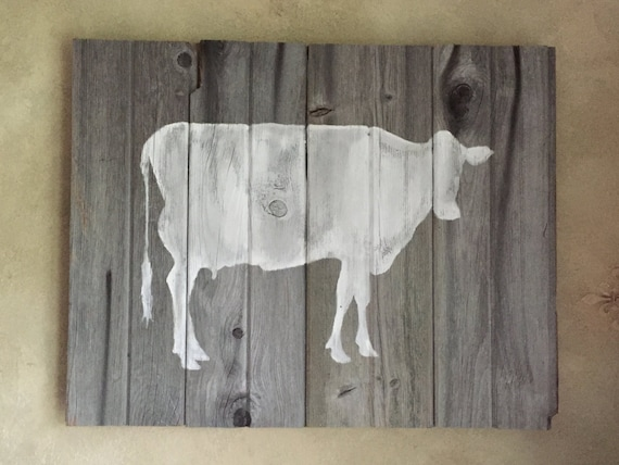 Rustic Barn Wood Wall Decor White Cow Silhouette Wall By