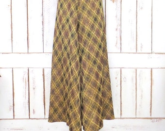 Vintage 70s metallic gold/brown/black plaid stretch wide bell bottom pants/super wide bell bottoms/palazzo pants