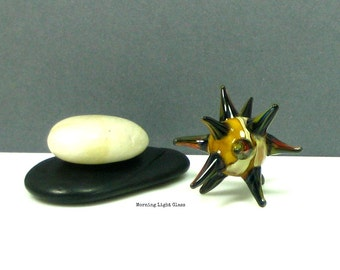Marble Art Glass, Sea Urchin Sculpture, Spiky Orb, Lampwork -  Orange & Red