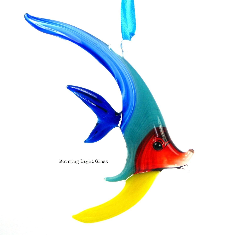 Glass fish ornament lampwork hanging art rainbow fish os100 for Glass fish ornaments