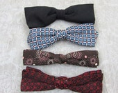 Mens Vintage Clip Bowties - 3 patterned, 1 black bowties - 50s-60s