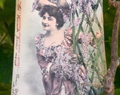 Antique French Photo Postcard - Woman with Purple Wisteria - Language of Flowers Series